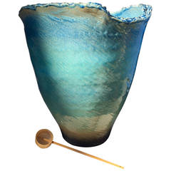 """Japanese Tall Hand-Thrown, hand glazed """"Long Life"""" Organic Planter One-of-a-kind"""
