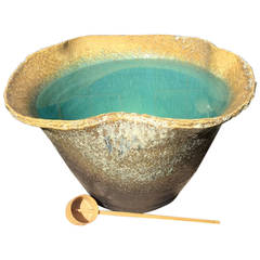 Japanese unique artisan hand thrown blue glazed Long Life water planterFREE SHIP
