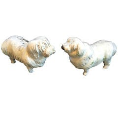 1930s-1950s Japanese White Pottery Sheep Dogs