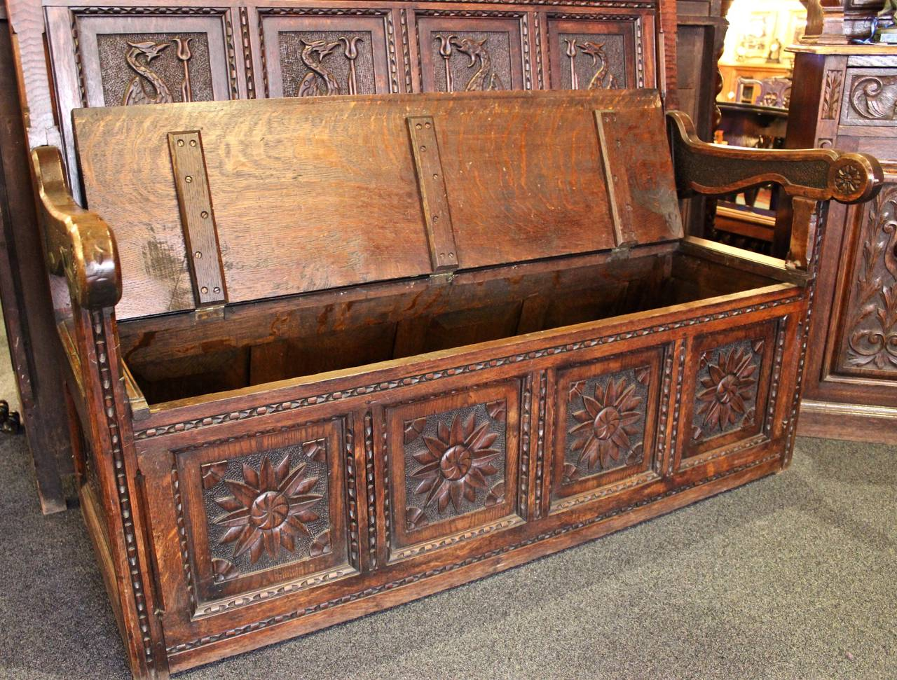 English Oak Settle High Back Bench At 1stdibs
