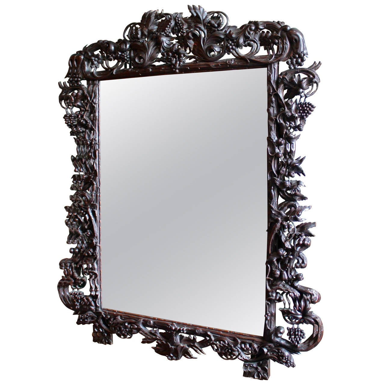 Late 19th century ornate large black forest french mirror for Black framed floor length mirror