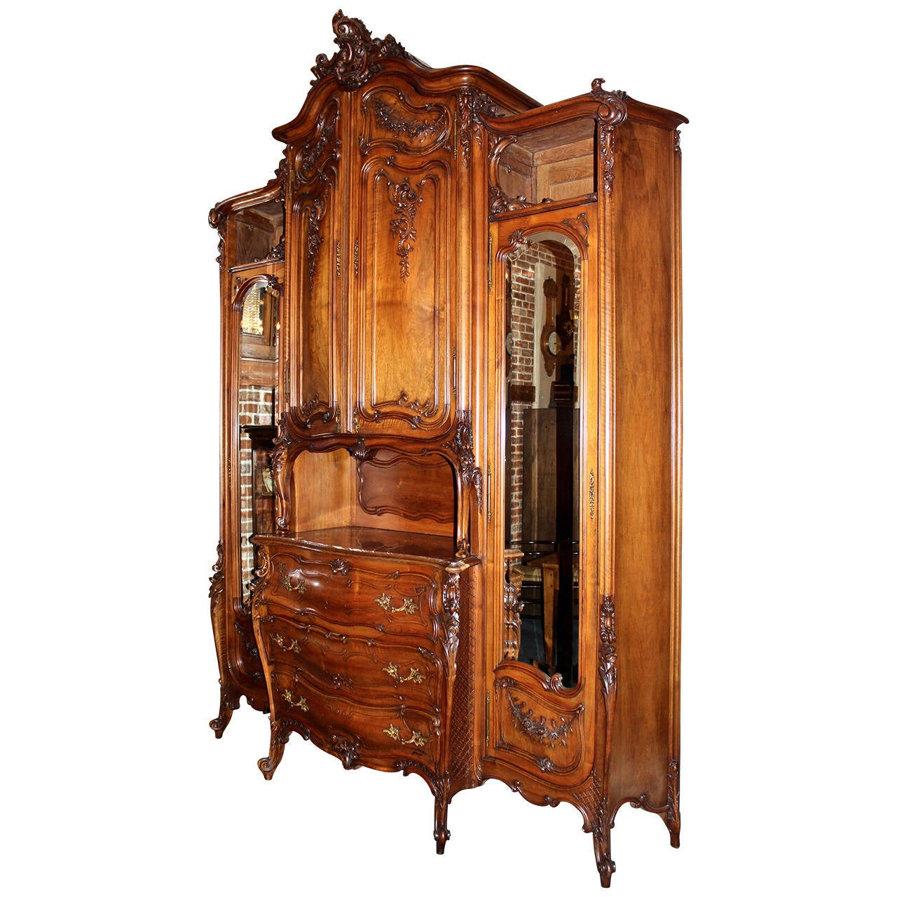 early 20th century massive french louis xv style armoire. Black Bedroom Furniture Sets. Home Design Ideas