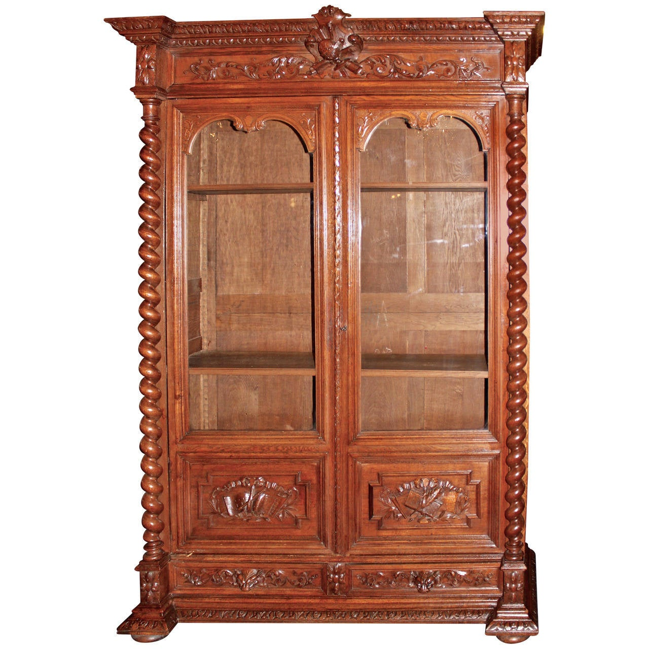 Early 20th Century French Glass Front Bookcase For Sale At