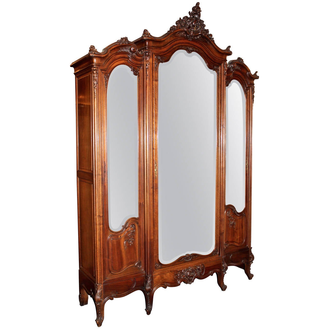 Louis XV French Mirrored Triple Door Armoire 1