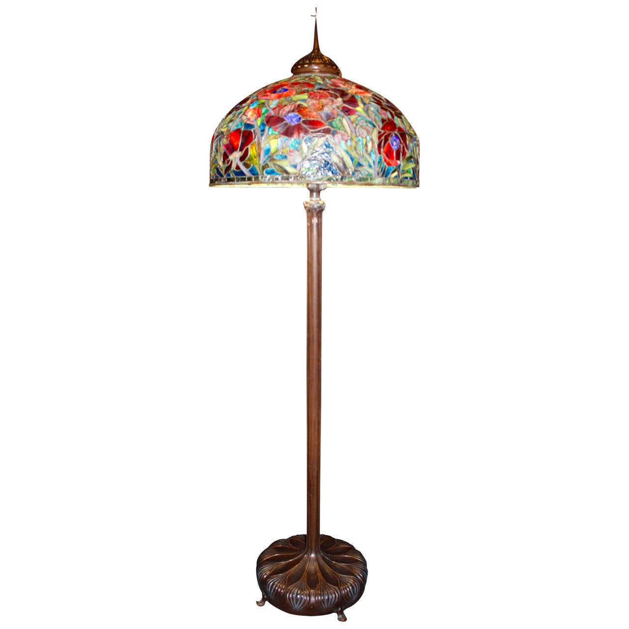 Oriental Poppy Tiffany Style Floor Lamp For Sale at 1stdibs