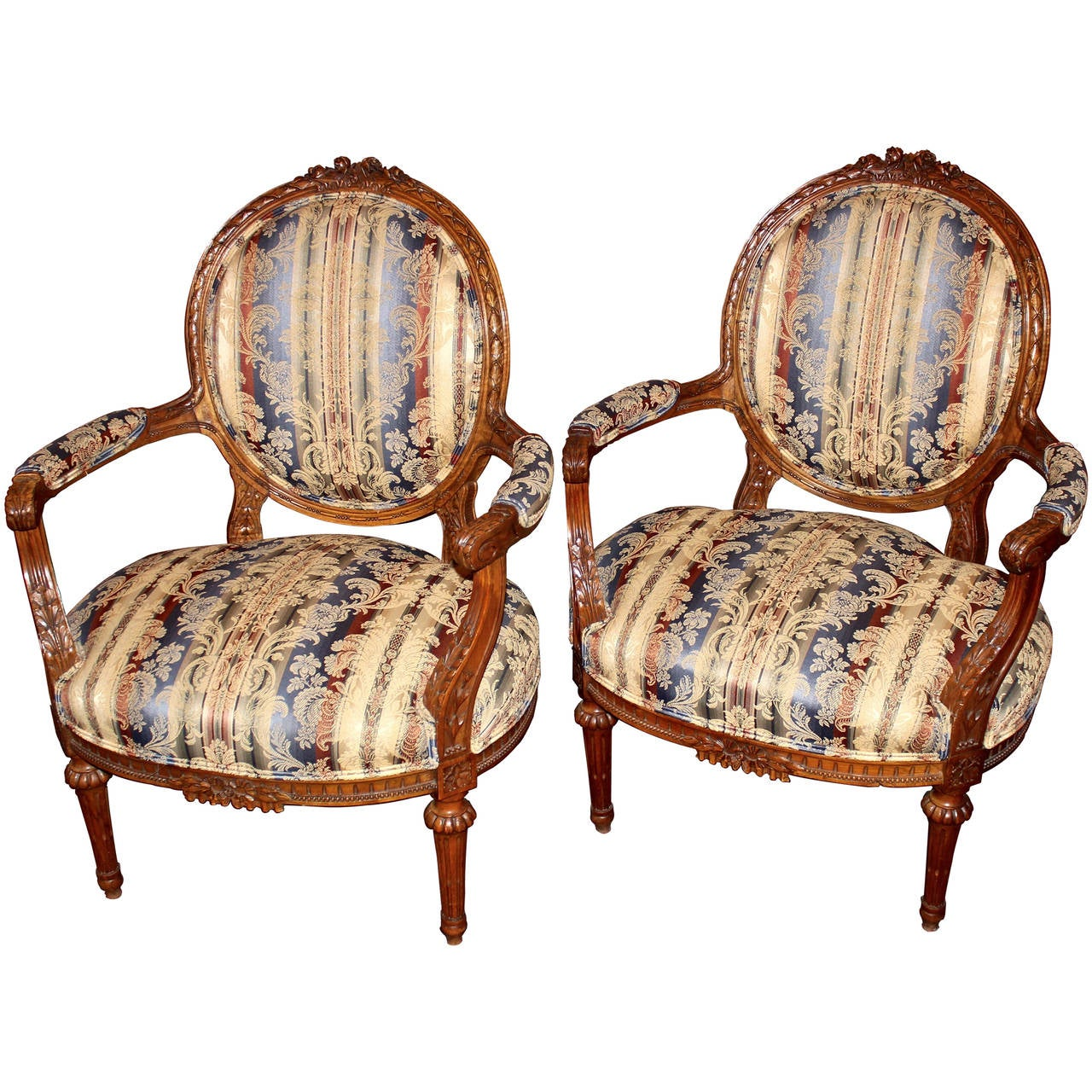 Pair of French Louis XVI Style Armchairs