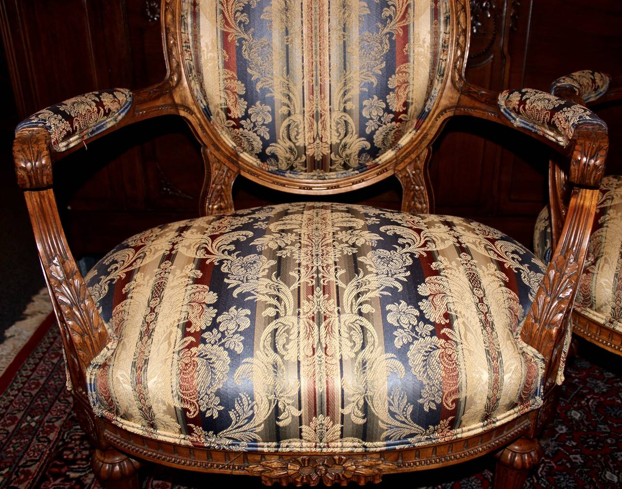 Upholstery Pair of French Louis XVI Style Armchairs For Sale