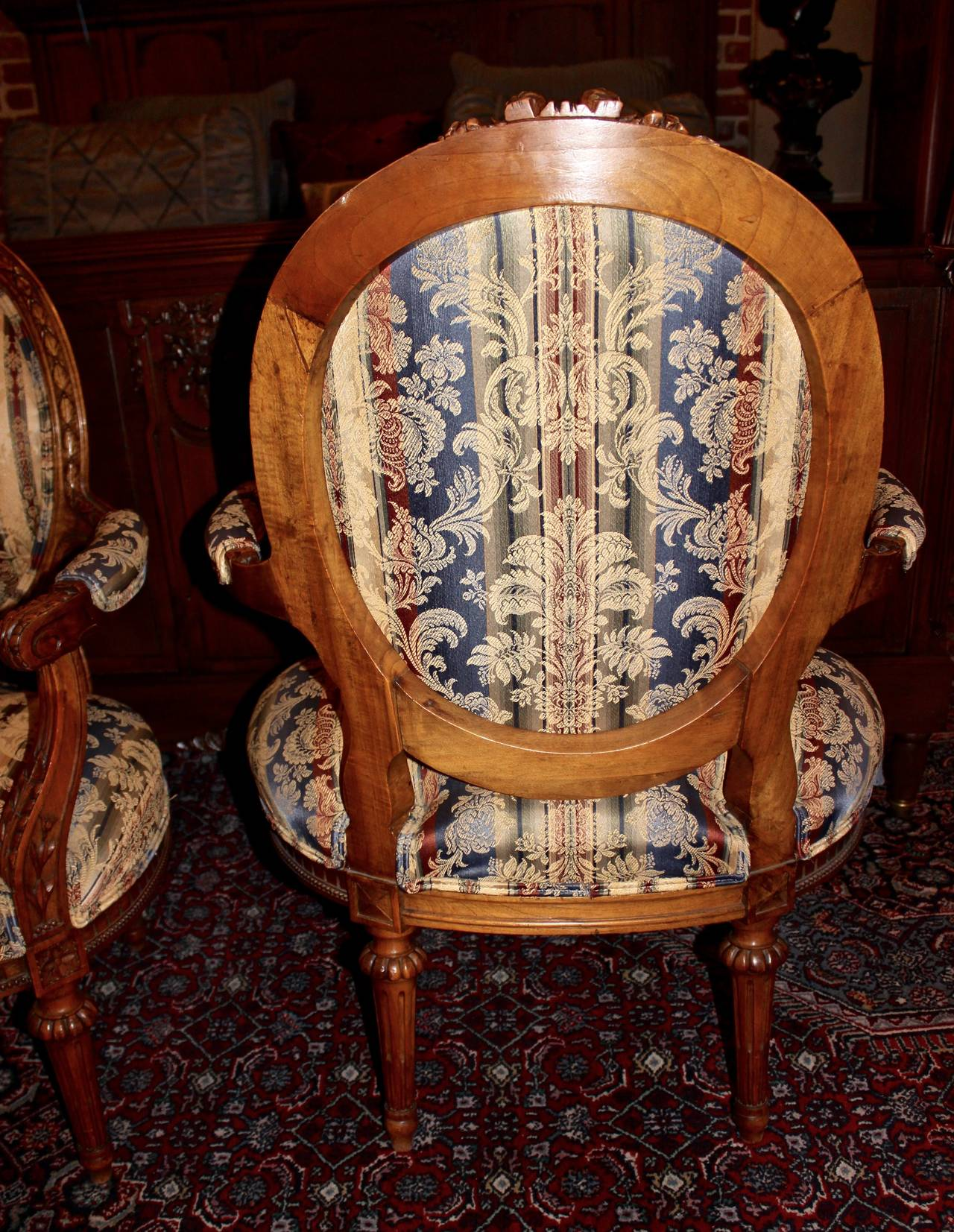 Pair of French Louis XVI Style Armchairs For Sale 1