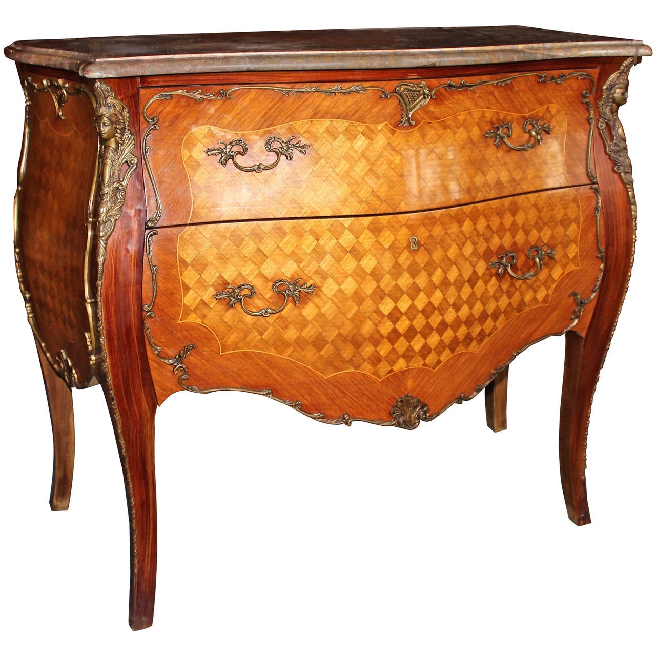 french louis xv bombe commode at 1stdibs. Black Bedroom Furniture Sets. Home Design Ideas