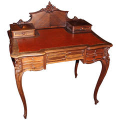 French Louis XV Style Rosewood Lady's Vanity or Writing Desk