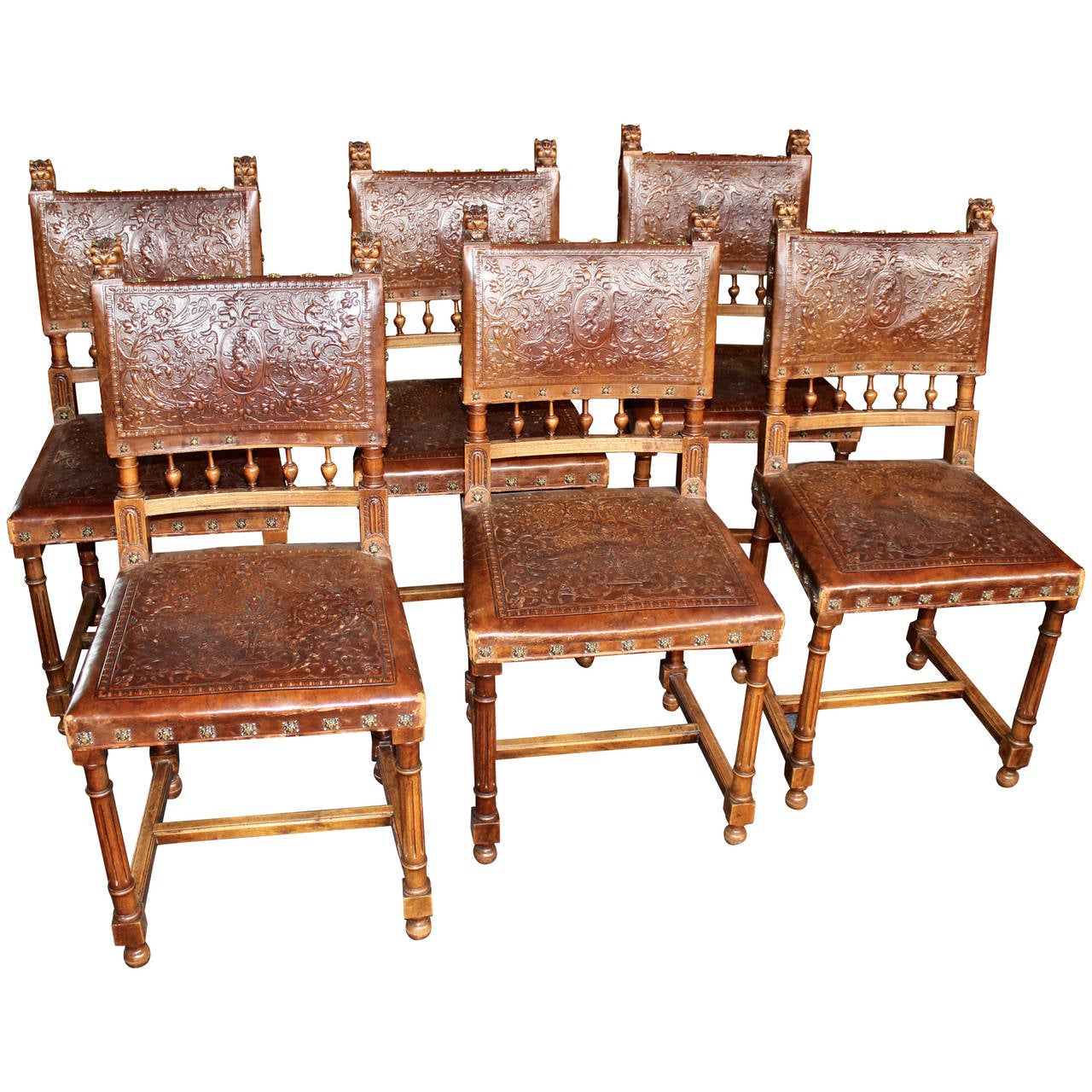 Set Of Six Renaissance Style Embossed Leather Chairs 1