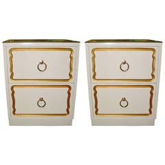 Pair of midcentury dorothy draper style side tables