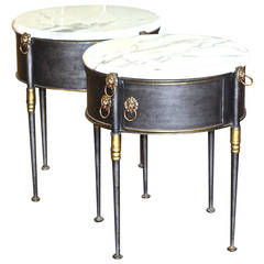 Pair of Steel and Marble Side Tables by Trouvailles Furniture, Inc.