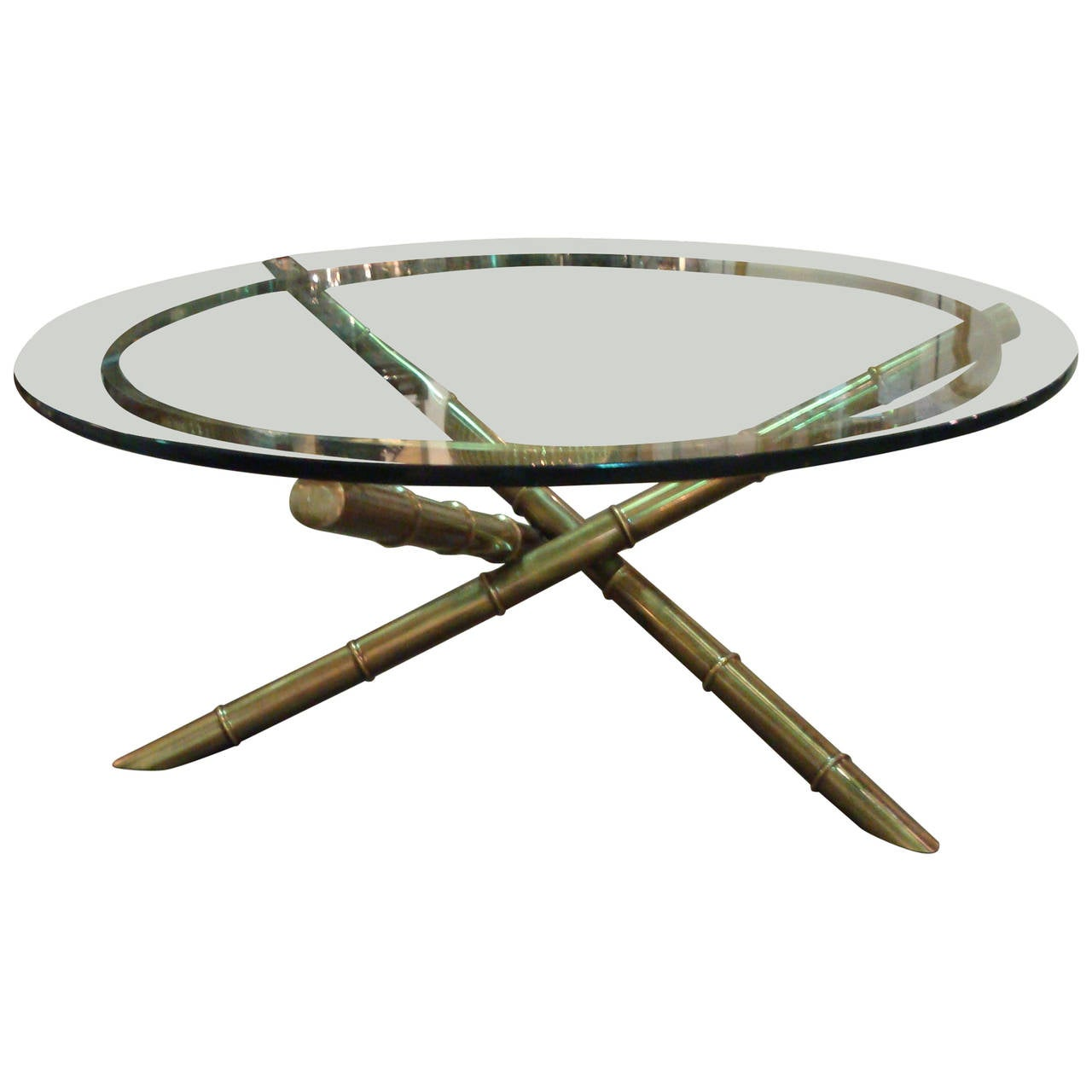 Italian Gold Gilt Iron And Glass Faux Bamboo Metal Square: Bamboo Metal Coffee Table For Sale At 1stdibs