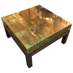 Sarreid studded brass coffee table on plinth base for sale for Coffee table with studs