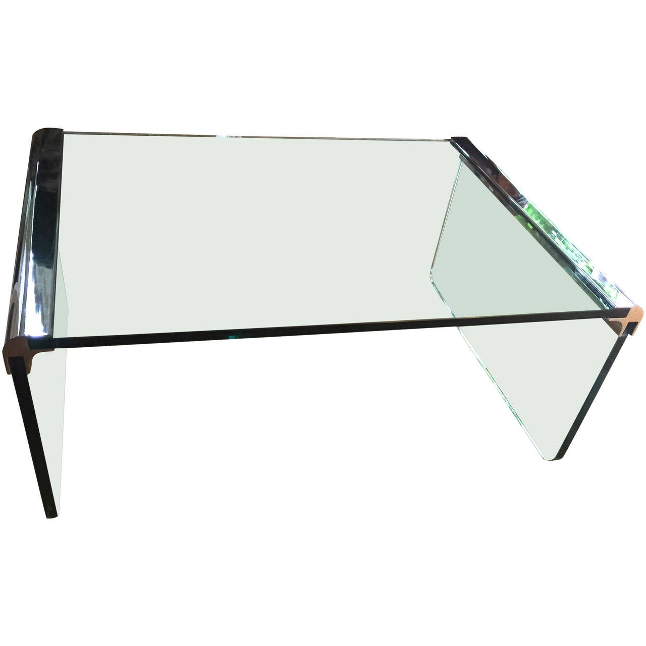 Waterfall Glass and Chrome Cocktail Table by Leon Rosen for Pace Collection