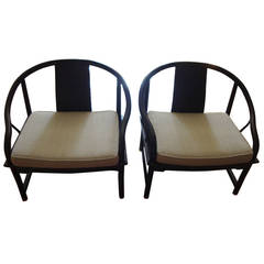 Mid-Century Modern Baker Asian Style Caned Chairs