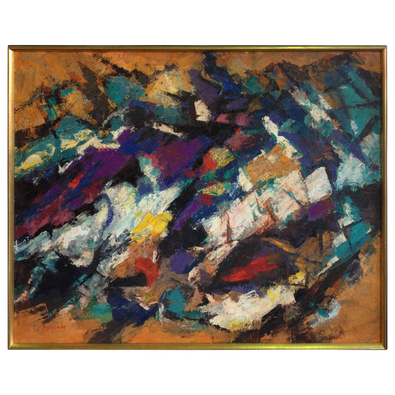 Abstract Oil Painting by Constantine Pougialis