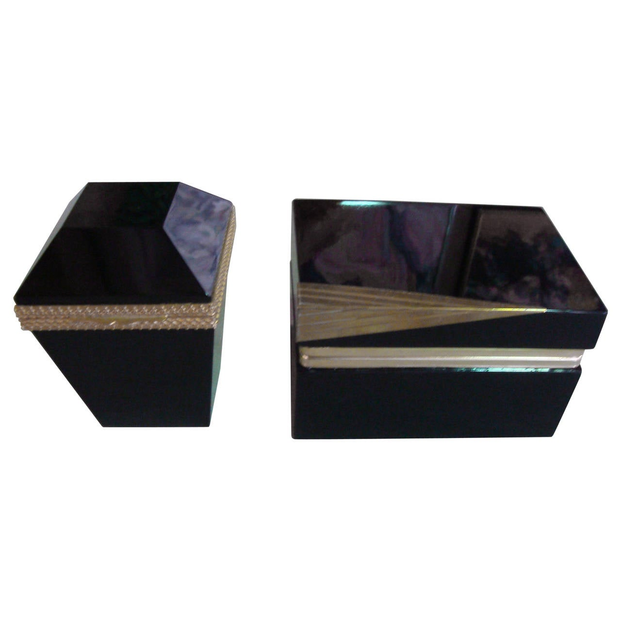 Pair of Black Opaline Boxes