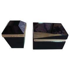 Pair of Black Opaline Boxes