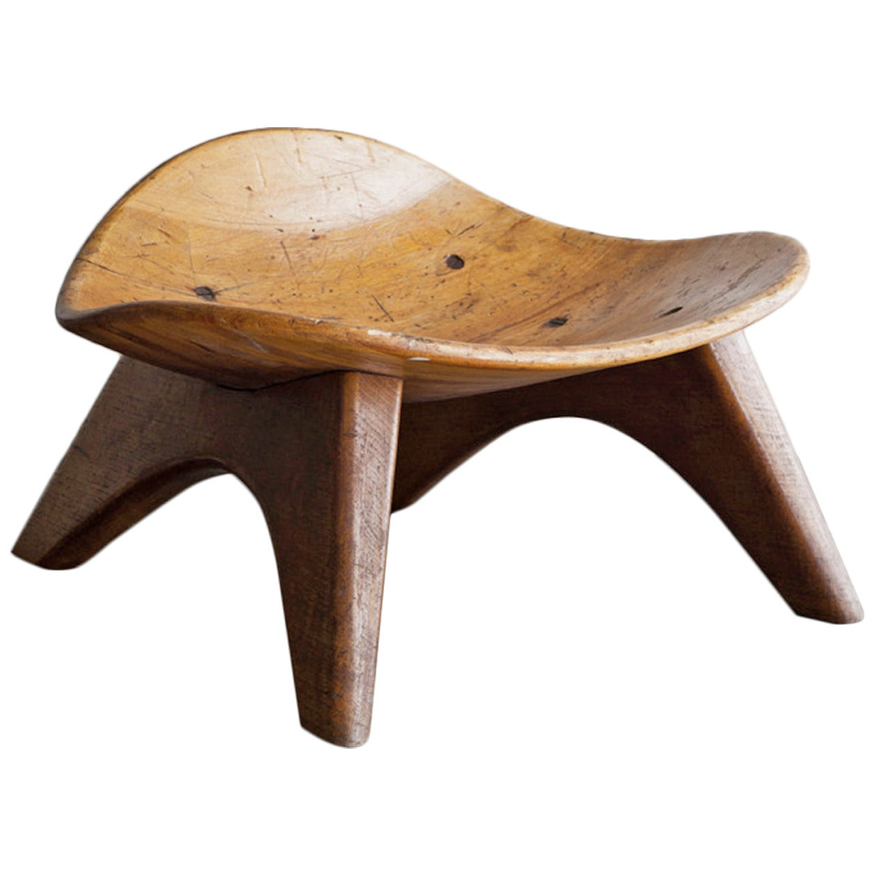 Wooden Stool In The Style Of Jean Prouv 233 At 1stdibs
