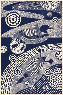"""Dipping and Diving,"" Folk inspired Ducks Swimming Blue Linoleum Block Print"