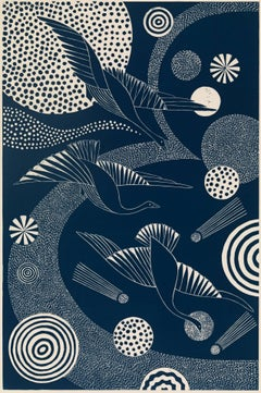 """Swooping and Swirling,"" Folk inspired Navy Linoleum Block Print of Birds Flying"