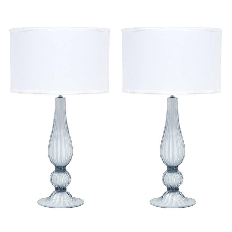 Murano Glass Light Blue Lamps