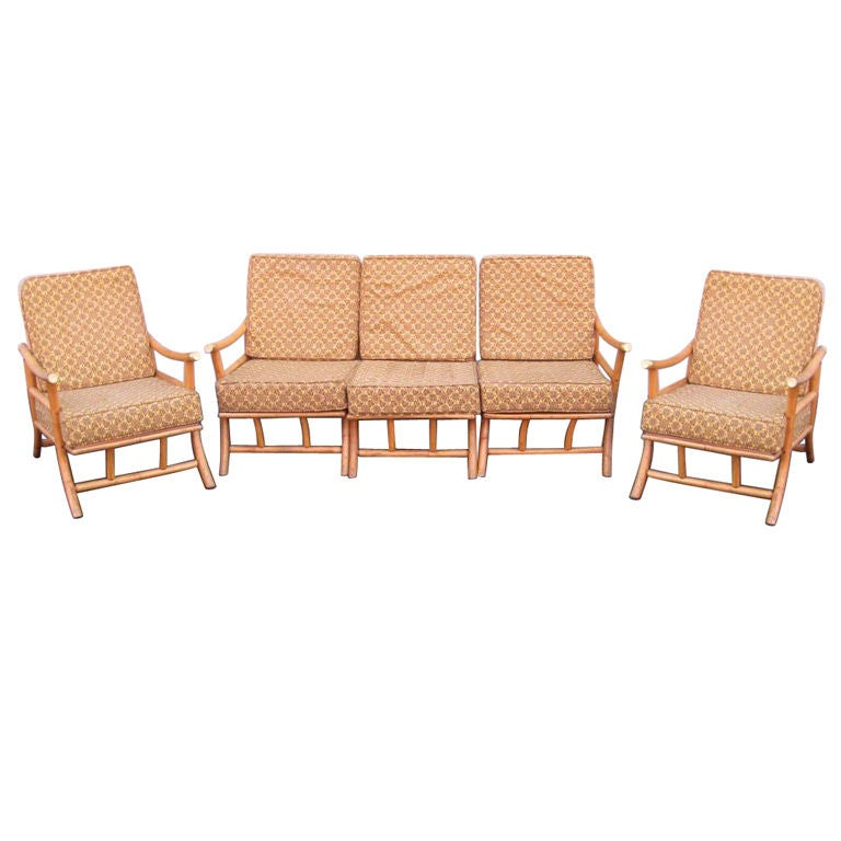 Set of four chairs and center table rattan circa 1960 - Rattan living room furniture for sale ...