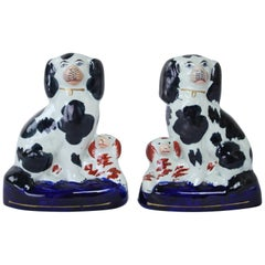 Pair of Antique English Staffordshire Pottery Dogs