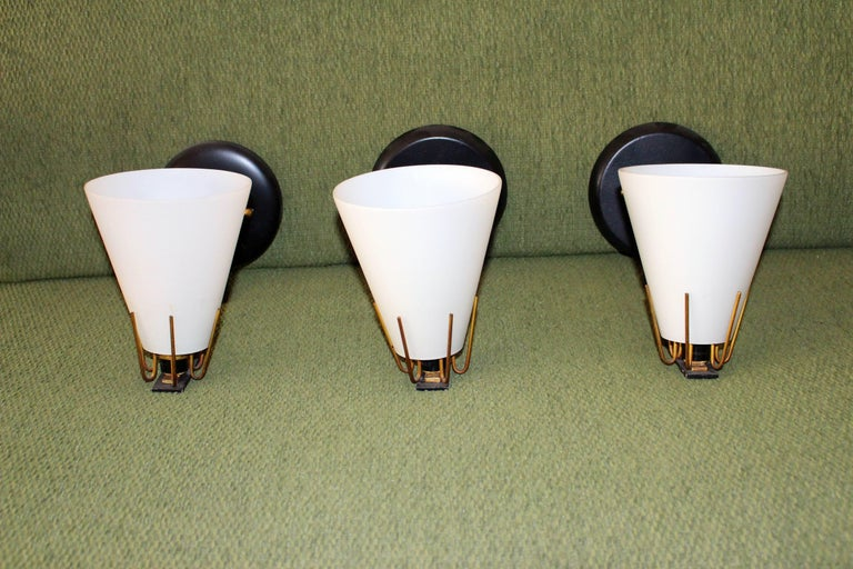 Mid-Century Modern Italian Pair of Wall Lights Attributed to Angelo Lelli For Sale