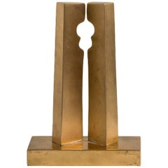 Brass Modernist Sculpture Signed