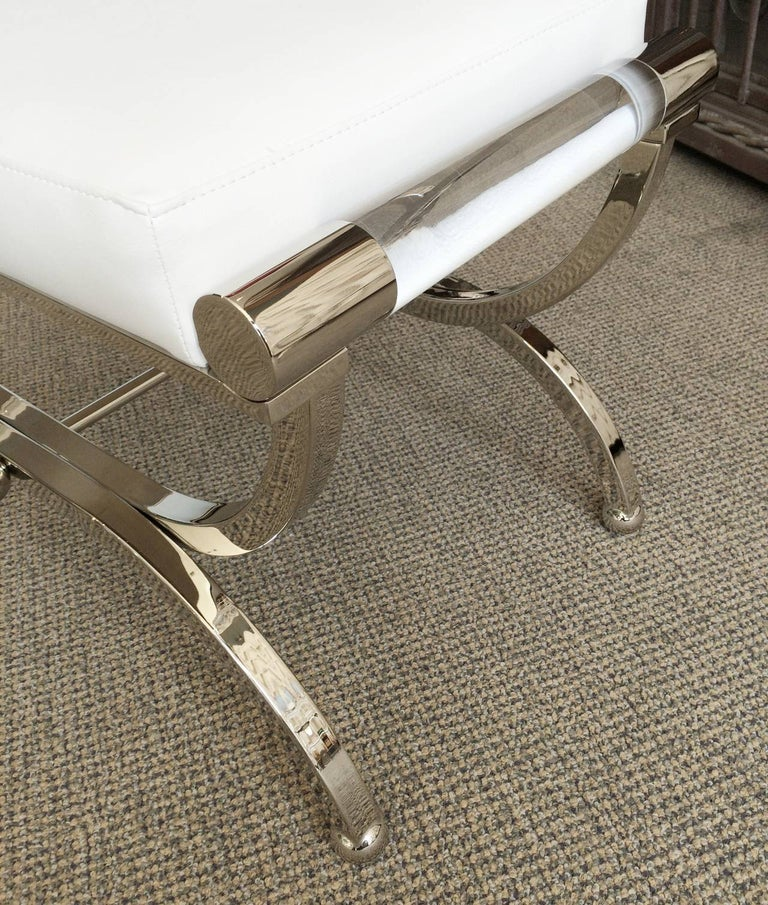 Mid-Century Modern Large Charles Hollis Jones Empire Style Bench in Nickel and Lucite For Sale