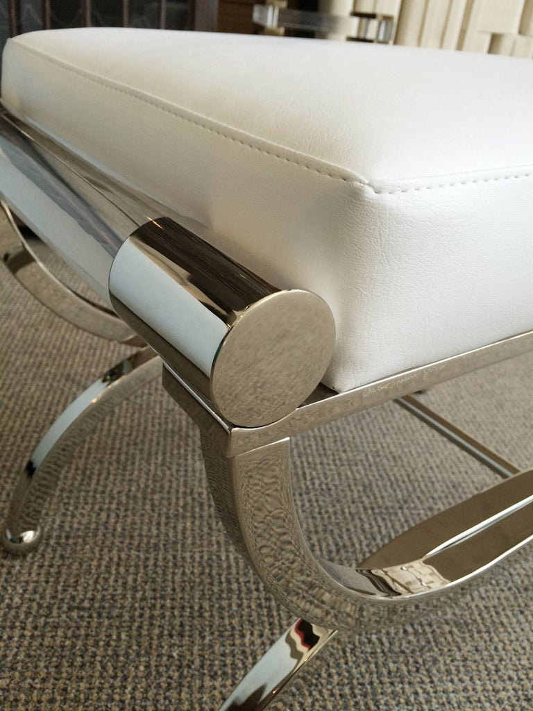American Large Charles Hollis Jones Empire Style Bench in Nickel and Lucite For Sale