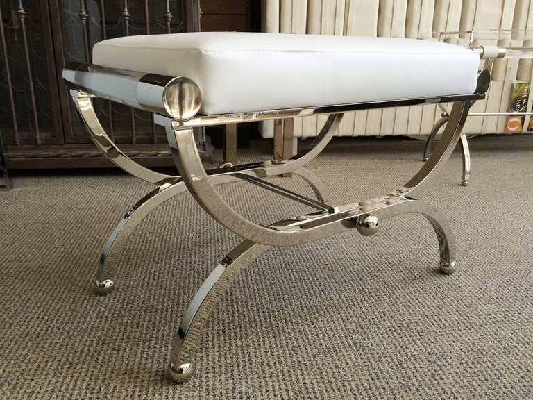 Contemporary Large Charles Hollis Jones Empire Style Bench in Nickel and Lucite For Sale