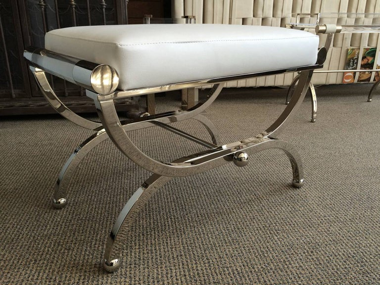 Naugahyde Large Charles Hollis Jones Empire Style Bench in Nickel and Lucite For Sale
