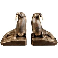 Silvered Bronze Art Deco Bookends