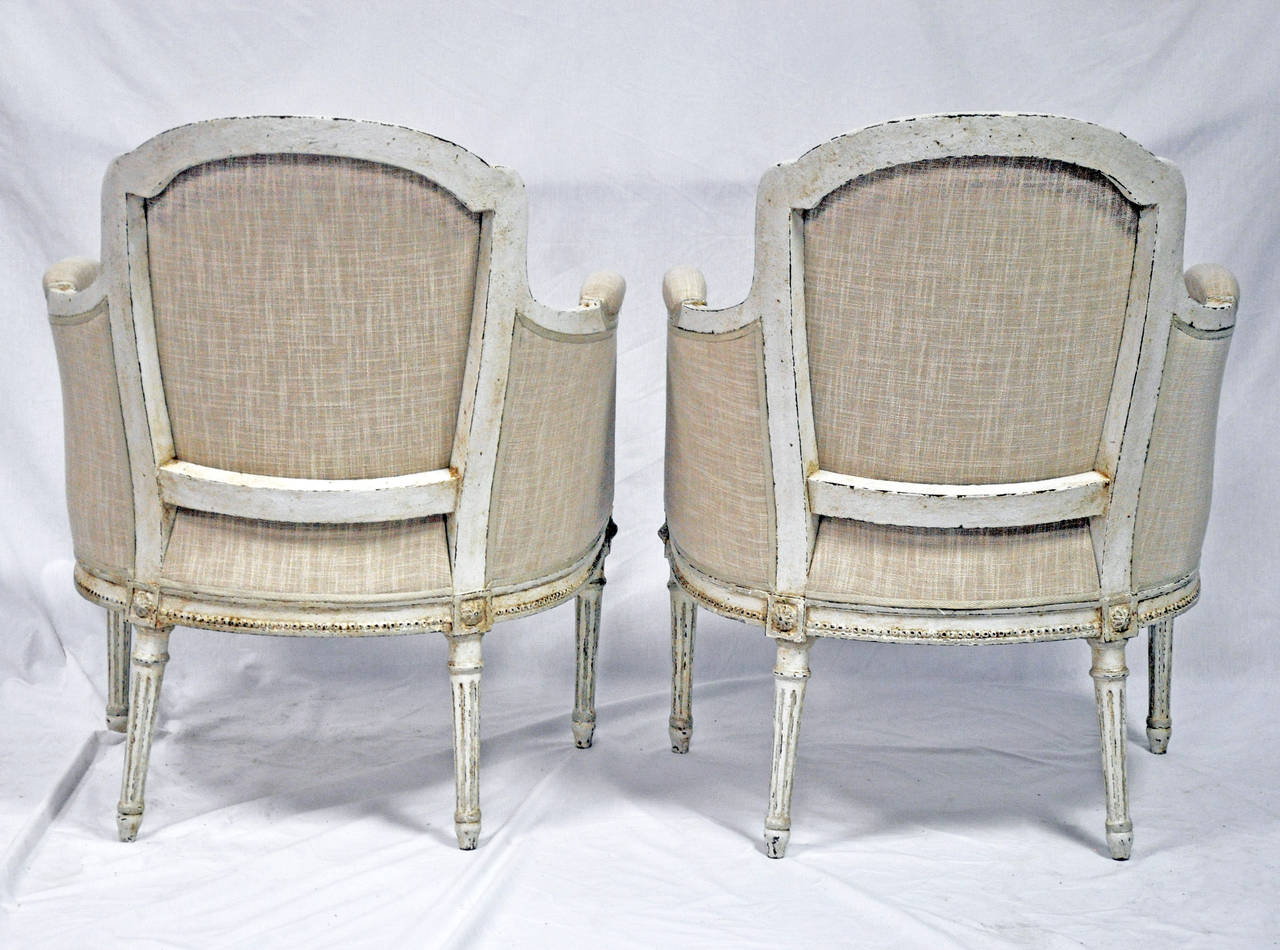 Pair of louis xvi french bergere chairs painted at 1stdibs