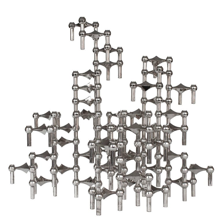 Set of 56 Piece Modular Candlestick Sculpture by Fritz Nagel and Caesar Stoffi For Sale