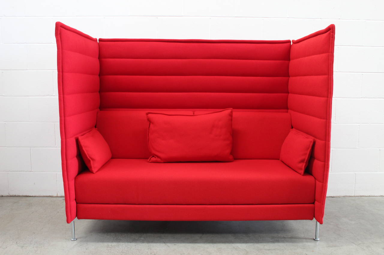 "Pair of Vitra ""Alcove"" Two Seat Highback Sofas in Pristine Red"