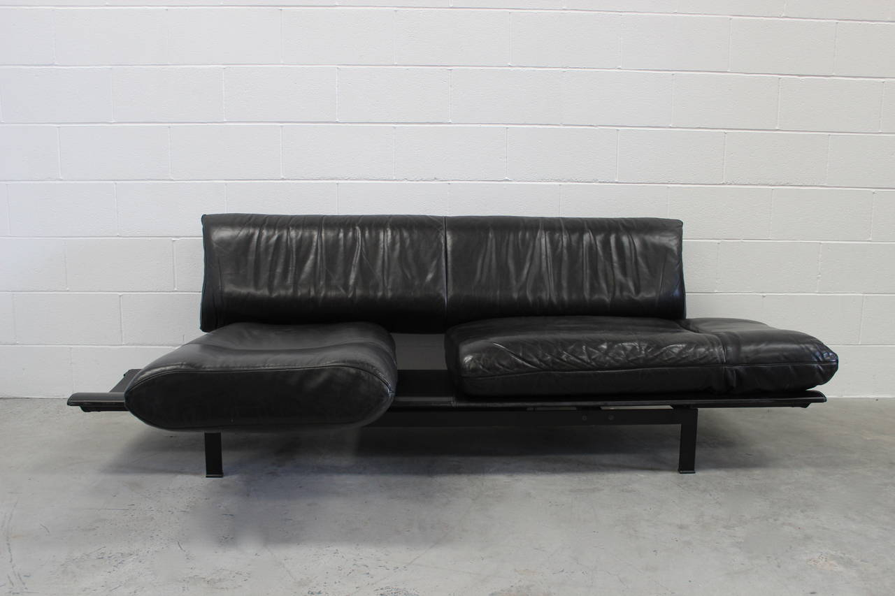 """De Sede """"DS-140"""" Large Sofa Or Chaise With Tables In Black"""