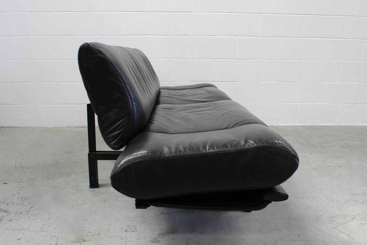 De sede ds 140 large sofa or chaise with tables in black for Black leather chaise sale