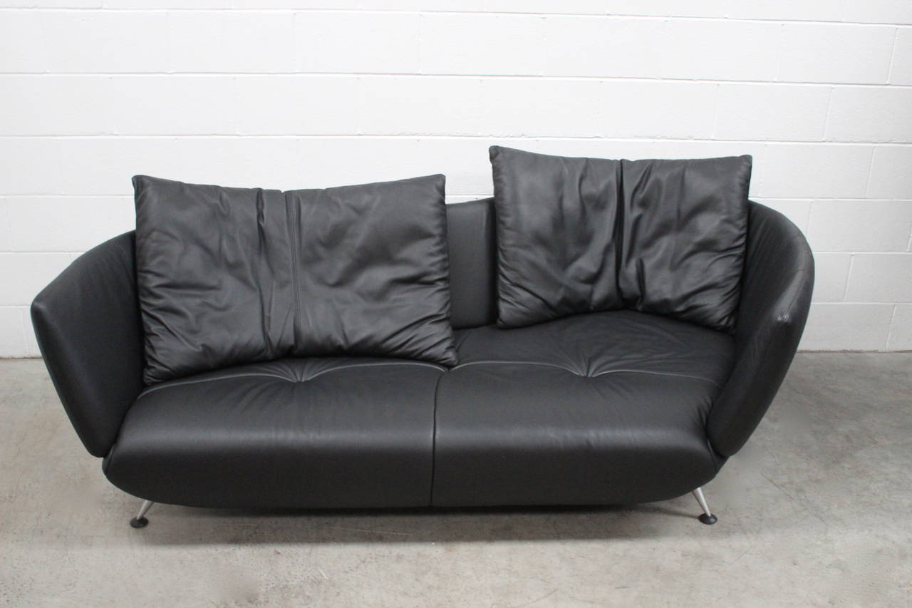 """De Sede """"DS 102/30"""" Large Sofa Chaise In Jet Black Leather"""