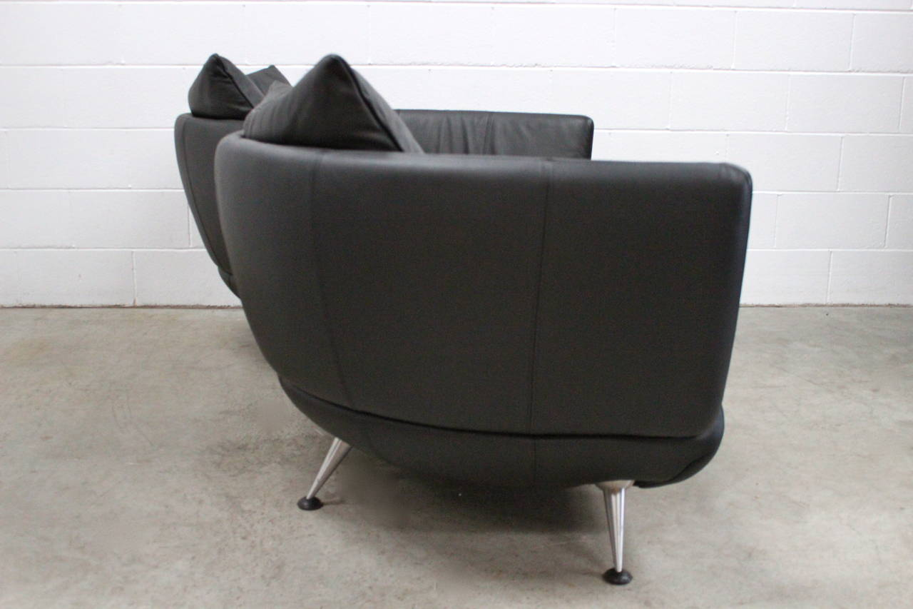 De sede ds 102 30 large sofa chaise in jet black leather for Black leather chaise sale