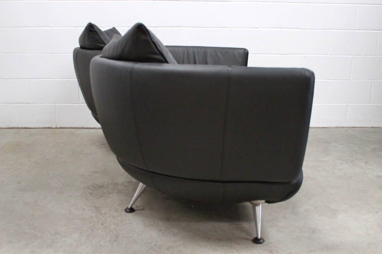 De sede ds 102 30 large sofa chaise in jet black leather for Black leather sofa chaise