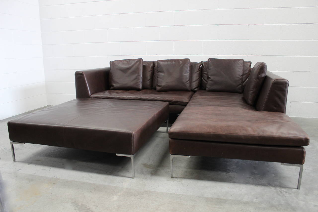 BampB Italia Charles L Shape Sofa And Ottoman In Leather