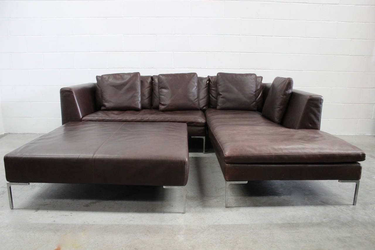 B B Italia Charles L Shape Sofa And Ottoman In Leather By Antonio Citterio For Sale At 1stdibs