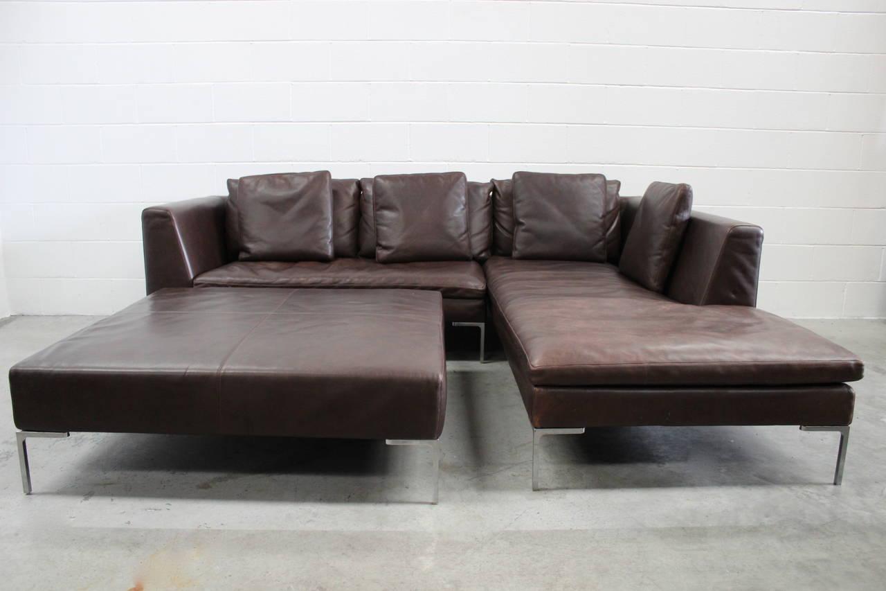 B b italia charles l shape sofa and ottoman in leather by antonio citterio for sale at 1stdibs B b italia sofa for sale