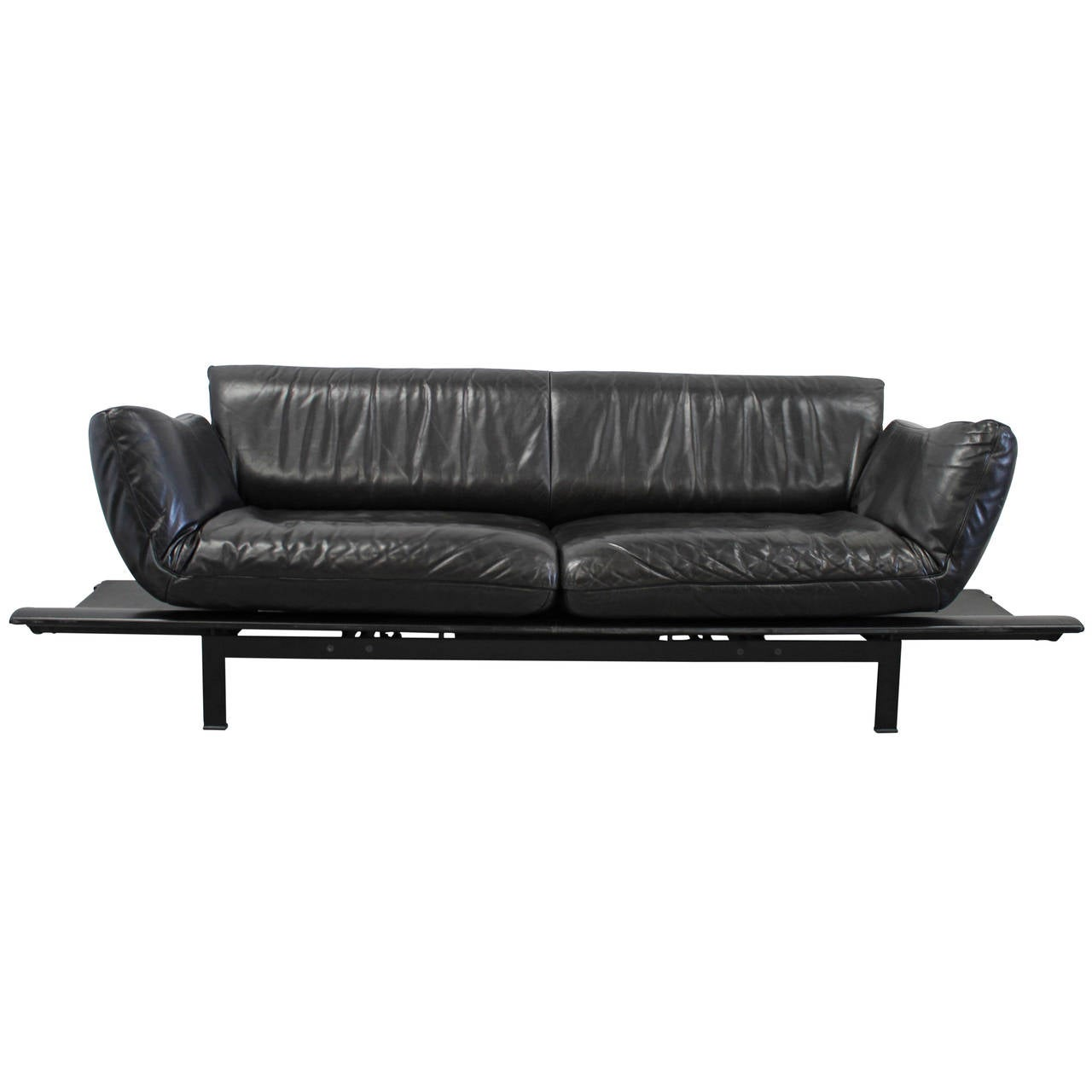 de sede ds 140 large sofa or chaise with tables in black leather by reto frigg for sale at 1stdibs. Black Bedroom Furniture Sets. Home Design Ideas