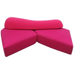 "Edra ""On The Rocks"" Sectional Sofa in Pink and Red Kvadrat by Francesco Binafare"